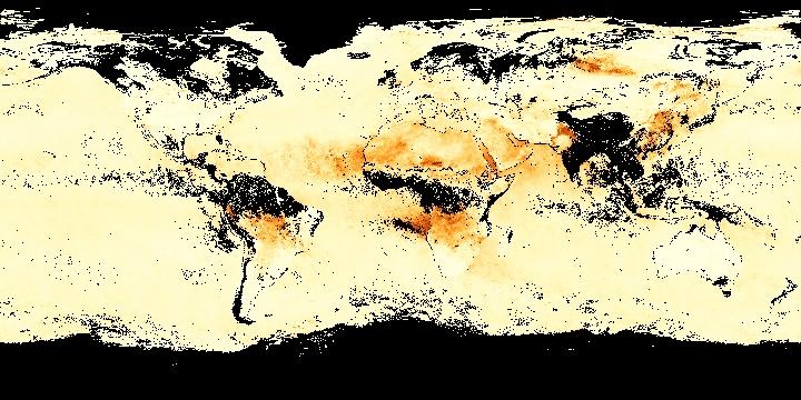 Aerosol Optical Thickness (1 month - Aqua/MODIS)   NASA