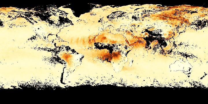 Aerosol Optical Thickness (1 month - Terra/MODIS)   NASA