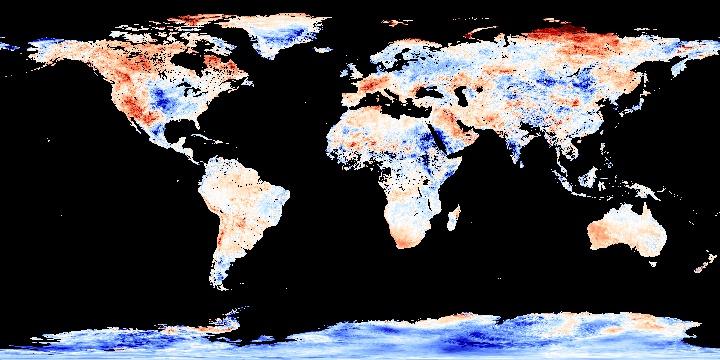 Land Surface Temperature Anomaly [Day] (8 day)   NASA