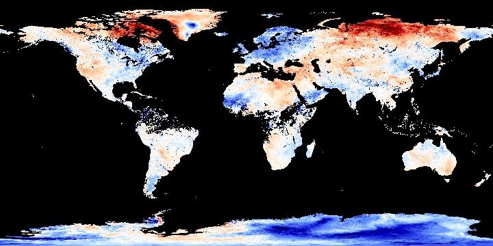Land Surface Temperature Anomaly [Night] (8 day)   NASA