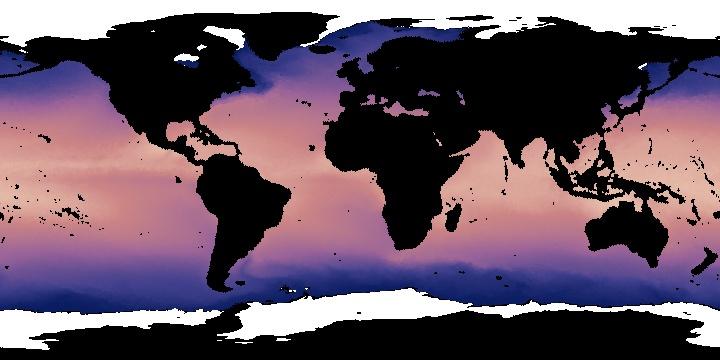 Average Sea Surface Temperature 1985-1997 (8 day - AVHRR)   NASA